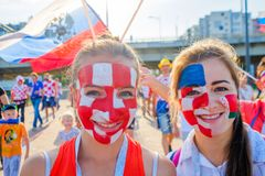 Football fans support teams on the streets of the city on the day of the match between Croatia and Nigeria Royalty Free Stock Photo