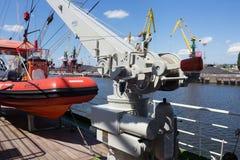 KALININGRAD, RUSSIA - JUNE 19, 2016: Rescue boat on the famous barque Kruzenshtern prior Padua. Rescue boat on the famous barque Kruzenshtern prior Padua moored stock photo
