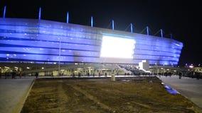 Kaliningrad, Russia. The lit Baltic Arena stadium late evening stock video footage