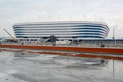 KALININGRAD, RUSSIA. Baltic Arena stadium for holding games of the FIFA World Cup of 2018 in winter day. KALININGRAD, RUSSIA - MARCH 12, 2018: Baltic Arena royalty free stock photo