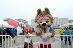 KALININGRAD, RUSSIA. The mascot of the FIFA World Cup of FIFA 2018 Zabivak`s wolf cub gives best regards. KALININGRAD, RUSSIA - OCTOBER 14, 2017: The mascot of stock photo