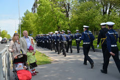 KALININGRAD, RUSSIA - MAY 09, 2015: The elderly man with the dau. KALININGRAD, RUSSIA - MAY 09, 2015: The elderly men with the daughter and granddaughters look Stock Photography