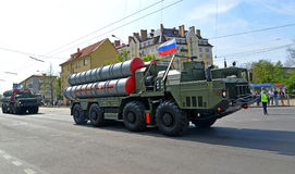 KALININGRAD, RUSSIA - MAY 09, 2015: The S-300 surface-to-air mis Stock Photography
