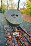 Kaliningrad, Russia. Memorable sign Millstones of Repressions` in the fall. Kaliningrad, Russia - November 03, 2017: Memorable sign `Millstones of Repressions` Stock Image