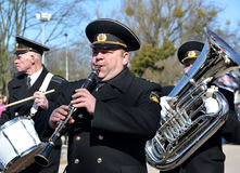 KALININGRAD, RUSSIA.Musicians of a brass naval band Stock Images