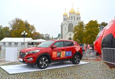 KALININGRAD, RUSSIA. The car of Hyundai with  symbolics of the FIFA World Cup of FIFA 2018 in Russia against the background of Chr. KALININGRAD, RUSSIA - OCTOBER Stock Photography