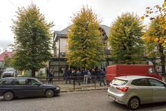 Queue to the Consulate General of the Republic of Lithuania in K Stock Image