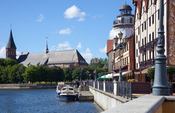 Kaliningrad, Russia. Panorama of the Kneiphof and Konigsberg Cathedral in the Kaliningrad, Russia stock photos