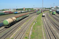 KALININGRAD, RUSSIA .A panorama of a railway station Kaliningrad-sorting in a summer sunny day Royalty Free Stock Images
