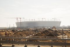 Kaliningrad-Russia, 28 September, 2017: Construction of a football stadium for the 2018 world Cup. Editorial.  Royalty Free Stock Image