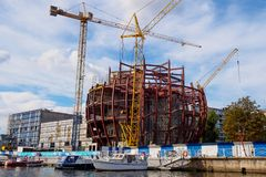 Kaliningrad, Russia - September 10, 2018: construction of the Planet Ocean Exposition Building. World Ocean Museum royalty free stock photography