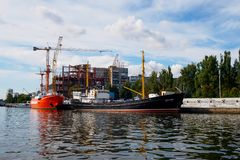 Kaliningrad, Russia - September 10, 2018: Exhibits of the Museum of the World Ocean at the pier against the background of the royalty free stock image