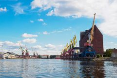 Kaliningrad, Russia - September 10, 2018: Kaliningrad trade port, sea port on the Baltic Sea stock photography