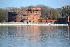 KALININGRAD, RUSSIA. A tower of Der Don & x28;the museum of Amber& x29; on the bank of the Top lake in spring day Royalty Free Stock Photos