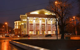 KALININGRAD, RUSSIA. View of the building of the building of Regional drama theater in the evening Royalty Free Stock Photo