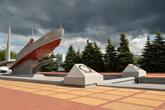 KALININGRAD, RUSSIA. View of the Memorable sign to seamen-Baltic Fleet sailors Stock Image