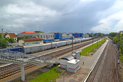 KALININGRAD, RUSSIA. A view on a railway station of Kutuzovo-Novoye and the shop of the entity of JSC Baltkran Royalty Free Stock Image