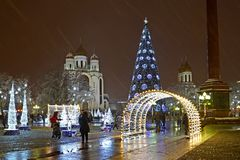 KALININGRAD, RUSSIA. A view of Victory Square in New Year `s furniture stock photography
