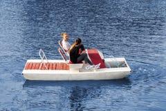 Kaliningrad Russia 05.01.2019 Young couple riding a catamaran stock photos