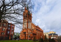 Kaliningrad, Russian Federation - January 4, 2018: Kirch Holy families. Kaliningrad Region Philharmonic imeni EF Svetlanov is a regional philharmonic society Stock Photography