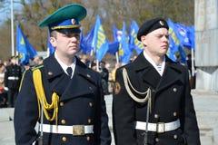 KALININGRAD, RUSSIE - 9 AVRIL 2015 : Une garde d'honneur sur le celebr Photo libre de droits
