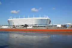 Kaliningrad, Russie Une vue de stade baltique d'arène pour tenir des jeux de la coupe du monde de la FIFA de 2018 du jour ensolei Images libres de droits