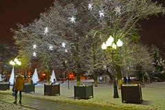 Kaliningrad, Russland Die glänzenden Sterne auf Bäumen am Winterabend Victory Square lizenzfreie stockfotografie