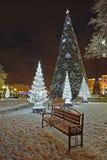 Kaliningrad, Russland Die glänzenden Tannenbäume und ein Baum des neuen Jahres am Abend bei Victory Square lizenzfreies stockfoto