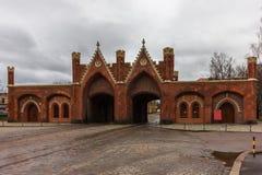 Kaliningrad rysk federation - Januari 4, 2018: Den Brandenburg porten Arkivbilder