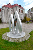 Kaliningrad Ryssland Ett minnesvärt undertecknar in hedern av årsdagen 100 av den Gumbinnensky striden mot den historisk och kons Royaltyfria Foton