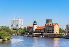 Kaliningrad Ryssland, Juni 19, 2018 Den moderna gränsmärket av staden arkivfoton