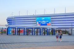 KALININGRAD RYSSLAND - JUNI 16, 2018: Sikt av den moderna Kaliningrad fotbollsarenaarenan Baltika royaltyfria bilder