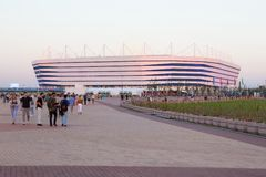 KALININGRAD RYSSLAND - JUNI 16, 2018: Sikten av den moderna Kaliningrad fotbollsarenan kallade också Arena Baltika royaltyfri fotografi