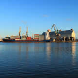 The Kaliningrad seaport in the evening. KALININGRAD, RUSSIA — AUGUST 26, 2014: The Kaliningrad seaport in the evening Royalty Free Stock Images
