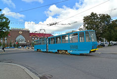 Kaliningrad. The tram approaches the railway Southern station Royalty Free Stock Image