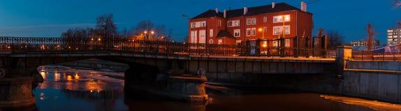 Kaliningrad. View of the pedestrian bridge (Honigbrücke) stock photo