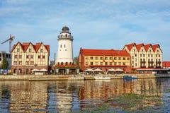 Kaliningrad, a vista sobre o rio Pregel Fotos de Stock Royalty Free