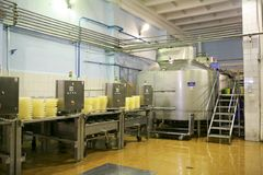 KALINKOVICHI, BELARUS - September 22, 2011: Combine for the production of cheese. Machines, mechanisms and equipment. royalty free stock photos