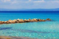 从Kalithea, Halkidiki的海景 免版税库存照片