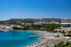 Kalithea Beaches and Hotels on Rhodes Royalty Free Stock Images
