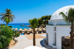 Kalithea Spa Rhodes Greece. The beautiful buildings at Kalithea Springs designed by Pietro Lombardi in the 1930s, Rhodes Island Greece Europe Royalty Free Stock Image