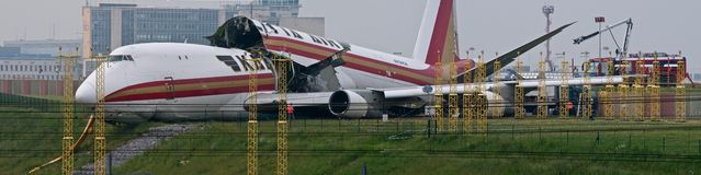 Kalitta crash. American Boeing 747 crashes on Brussels International Airport Stock Photo