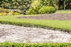 Kalk auf dem Boden im Garten Stockbilder
