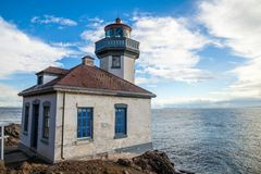 Kalk-Brennofenleuchtturm auf San Juan Island, Washington stockfotografie