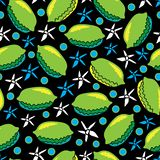 Kalk en bloem-Fruit naadloze de Verrukking herhaalt Patroonillustratie Achtergrond in groen, blauw, geel, zwart-wit stock illustratie