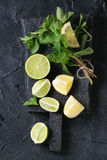 Kalk en citroenen met munt royalty-vrije stock foto