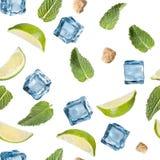 Kalk-, Minzen-, Zucker- und Eiswürfel auf einem weißen Hintergrund Lizenzfreies Stockbild