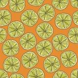 Kalk schneidet nahtloses Muster Vektorillustration auf orange Hintergrund vektor abbildung