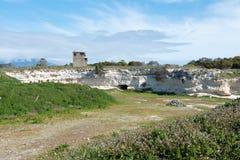 Kalk-Steinbruch auf Robben-Insel lizenzfreies stockbild