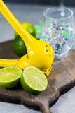 Kalka manuell press för förberedelse av coctailar, limefrukter och exponeringsglas Fotografering för Bildbyråer